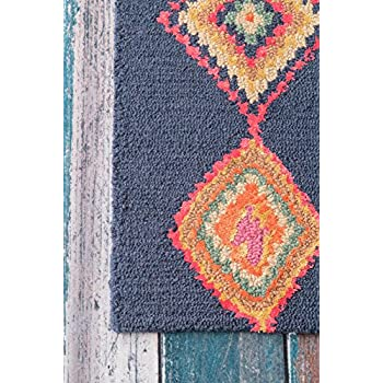 nuLOOM Bohemian Moroccan Diamond Navy Area Rugs, 6, Navy