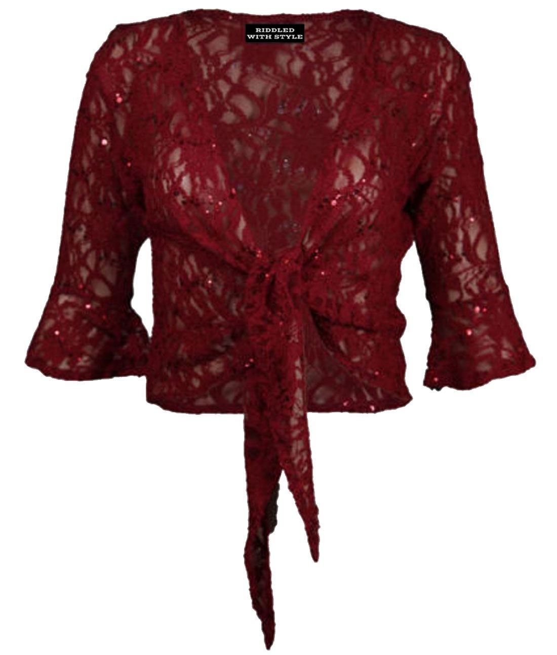 NEW WOMENS LADIES PLUSSIZE FLORAL LACE SEQUIN 3/4SLEEVE TIE UP SHRUG BOLERO TOPS RIDDLED WITH STYLE