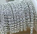 VOVOV 10 Yard Crystal Rhinestone Close Chain Clear Trim Sewing Craft 2mm Silver color by VOVOV