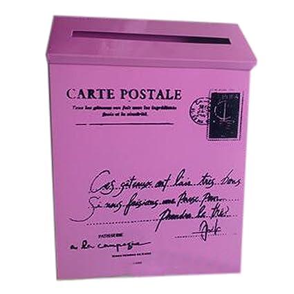 Carta Buzón de correos montado en la pared impermeable buzón con cerradura caja decorativa, Rosa