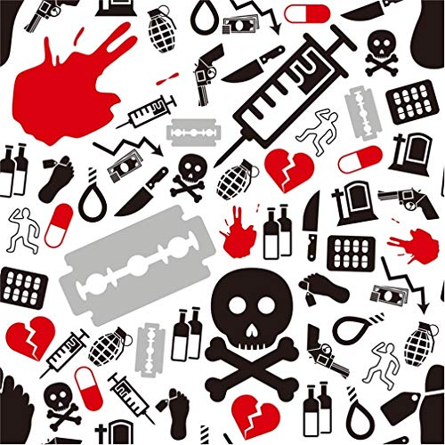 Leyiyi 5x5ft Happy Halloween Backdrop Suicide Seamless Pattern Banner Knife Gun Syringe Bomb Alcohol Skull Bones Kill Blood Photography Background Costume Carnival Photo Studio Prop Vinyl Wallpaper -