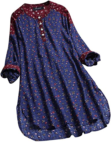 TUDUZ Blusa Mujer Manga Larga Camisa Algodón y Lino Top Estampado Floral Labor De Retazo Camiseta Talla Extra M-5XL: Amazon.es: Ropa y accesorios
