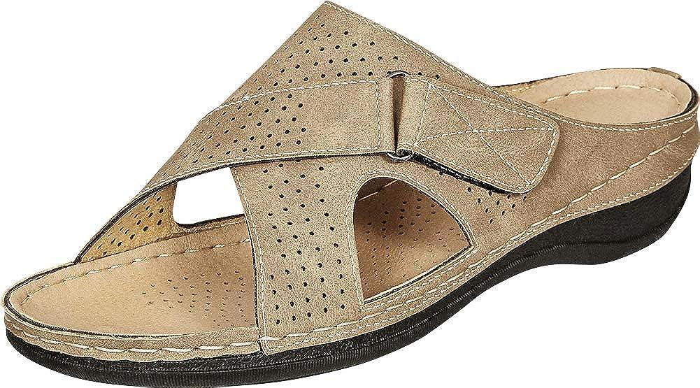 Taupe Nbpu Cambridge Select Women's Open Toe Perforated Slip-On Comfort Flat Slide Sandal