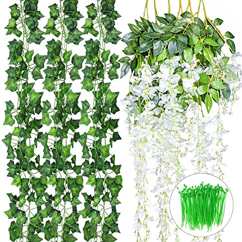 CEWOR 18pcs Artificial Flowers Vines Include 6pcs(3.6feet) Fake Silk Wisteria Vines and 12pcs(6.5feet) Fake Ivy Vines with a pack of Cable Ties for Wedding Party Garden Wall Decoration (Silk)