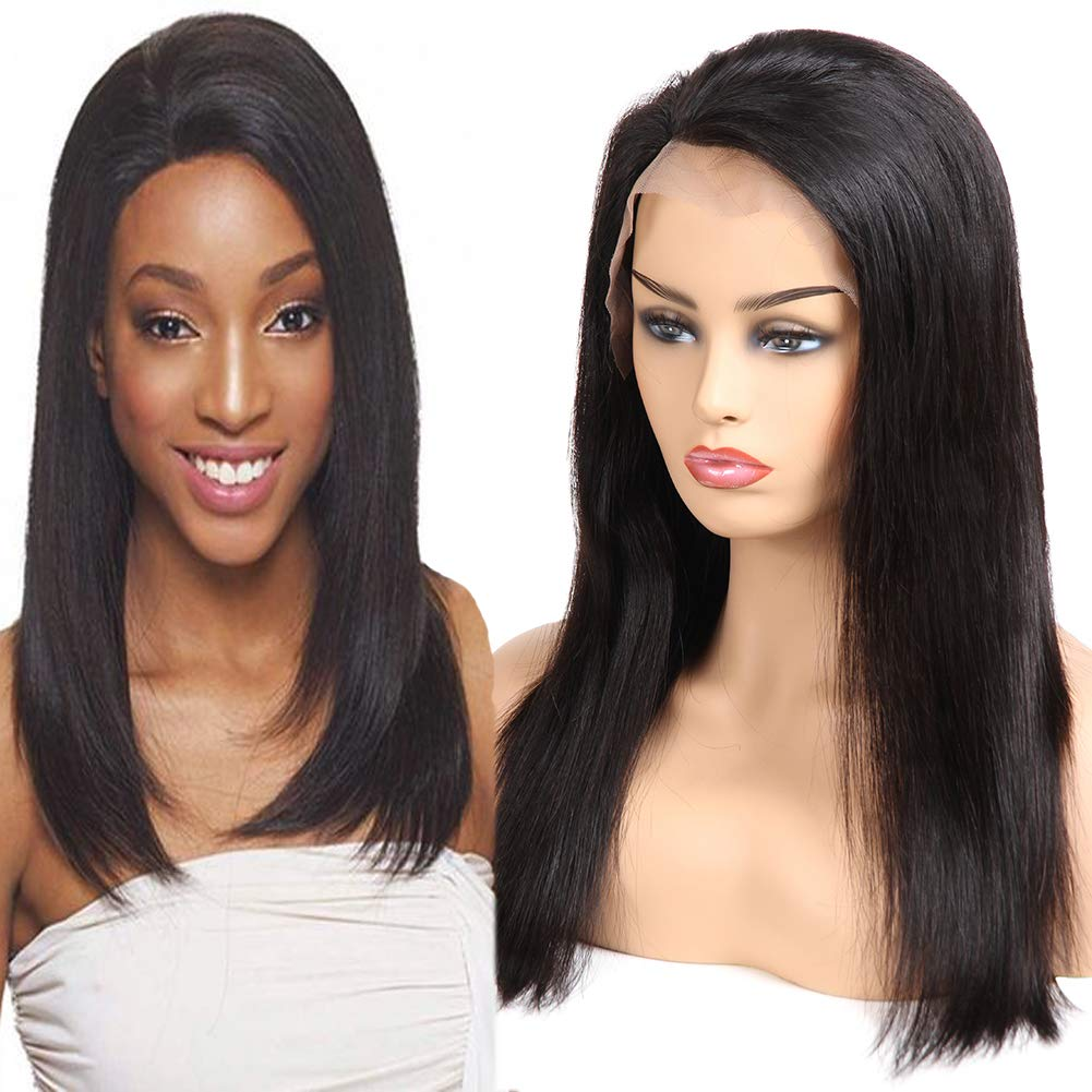 80f356a4a Amazon.com : Huarisi Straight Hair Lace Front Wigs Human Hair Glueless  Brazilian Hair Wig Short Free Part 100% Unprocessed Virgin Hair Natural  Color 10 Inch ...
