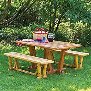 Woodworking Paper Plan to Make Outdoor Table and Benches