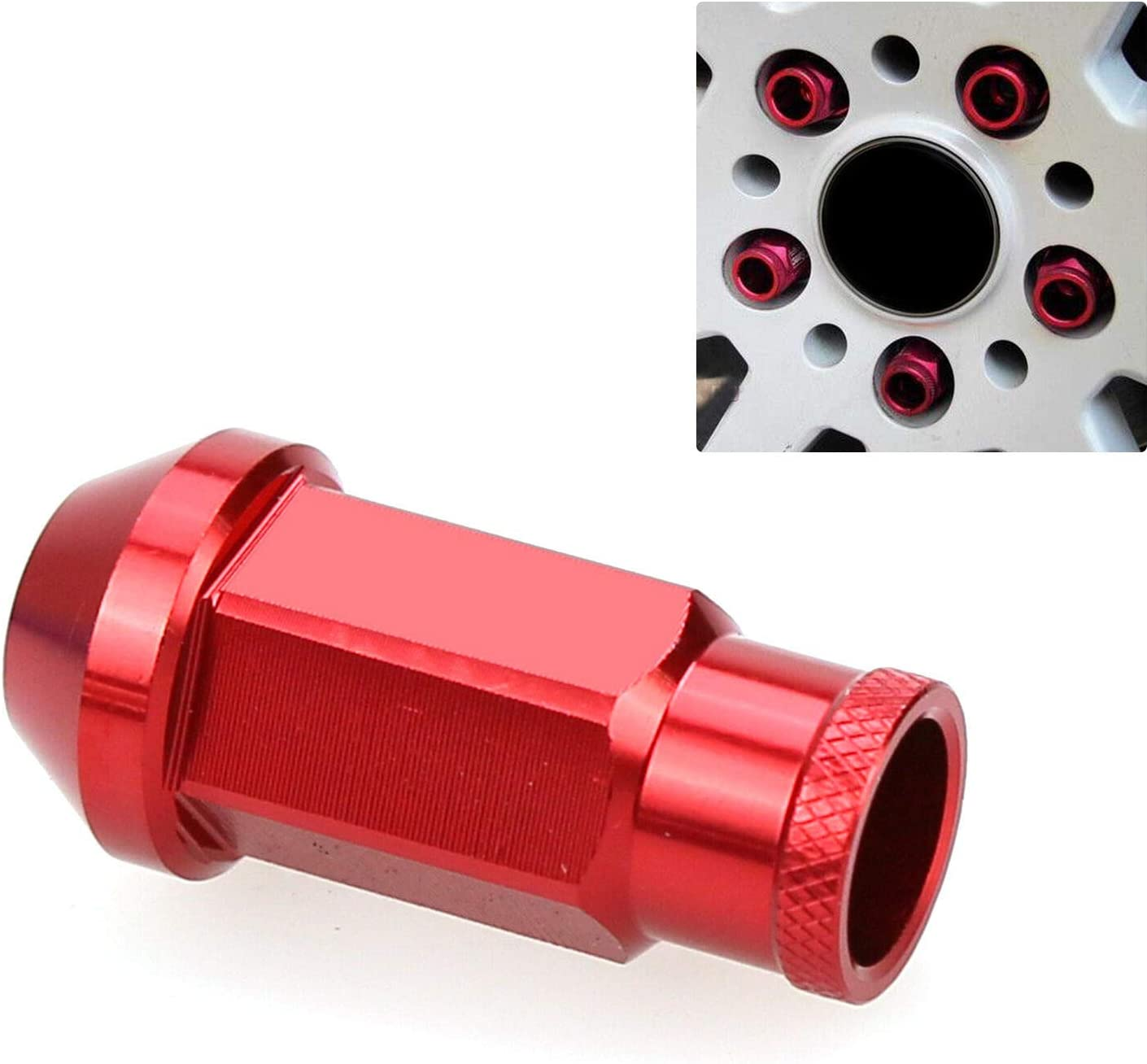 FidgetGear Red JDM Racing Wheel Lug Nuts M12X1.5MM 20Pcs Fit Mitsubishi CIVIC ACURA