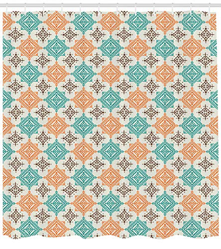Lunarable Native American Shower Curtain by, Bohemian Style Ornate Diamond Shape Pattern Design Geometric, Fabric Bathroom Decor Set with Hooks, 70 Inches, Turquoise Orange Brown