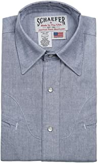 product image for Schaefer Outfitters Men's Blue Vintage Chisholm Chambray Shirt - 6062-Bl