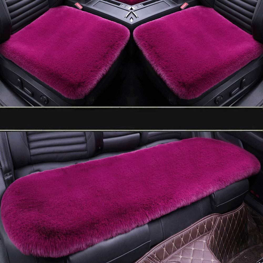 Winter car seat Cushion Without backrest Three-Piece Plush Cushions Winter Rear Row mat Short mat (Color : D) by Mlscushion