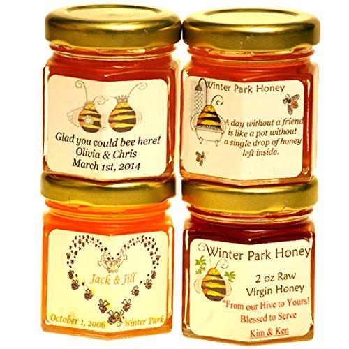 Wedding Honey Favors (case of 24 x 2oz jars) - Pure Raw Honey - Jar Wedding Honey Favors