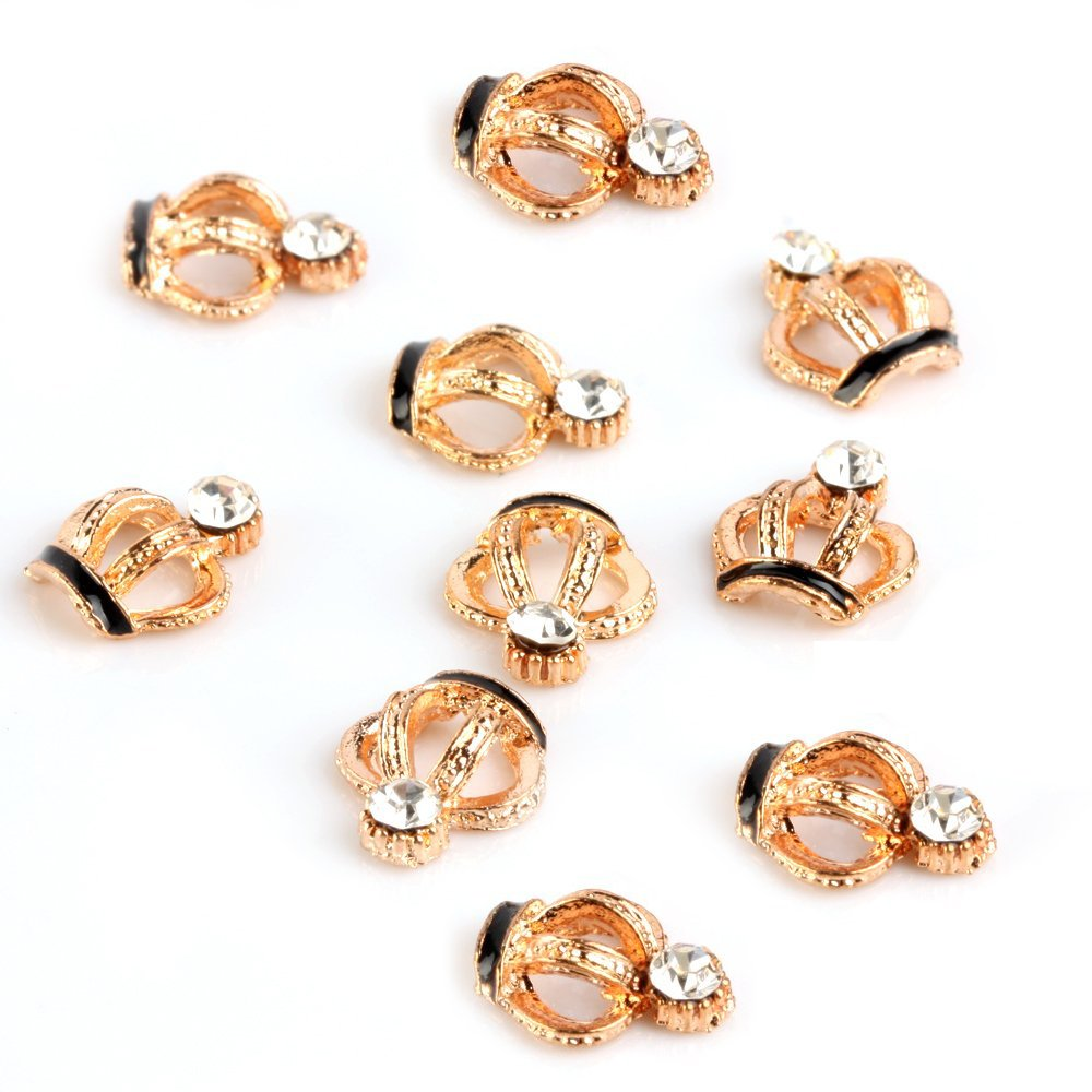 TOOGOO(R) 10pcs 3D Golden Alloy Rhinestone?s Crown Nail Art Glitters Stickers DIY Decoration?s 025453
