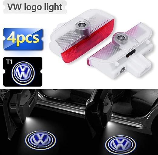Zobir 4pcs Upgraded Car Door Led Logo Projector Light Car Door Ghost Shadow Welcome Lamp Courtesy Light for Volkswagen Teramont//touareg