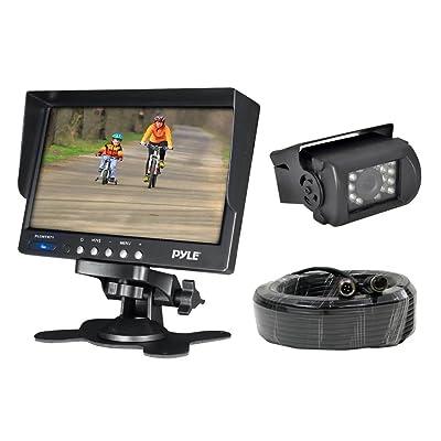 "Car Backup Rear View Camera - Reverse Parking Rearview Back Up Car Camera And Monitor Video System w/ 7"" Monitor, Dual DC 12-24V - Back Up Camera For Bus, Truck, Trailer, Van - Pyle PLCMTR71: Car Electronics"
