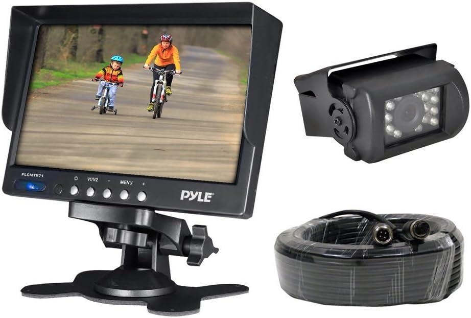 "Car Backup Rear View Camera - Reverse Parking Rearview Back Up Car Camera And Monitor Video System w/ 7"" Monitor, Dual DC 12-24V - Back Up Camera For Bus, Truck, Trailer, Van - Pyle PLCMTR71"