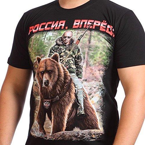 Funny T Shirt The President Russia Vladimir Putin On A Bear   Go Russia   100  Cotton  Medium