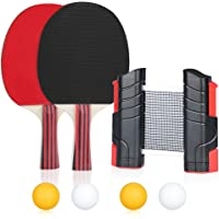 SUPALAK All-in-ONE Portable Ping Pong Set -Table Tennis Set with Retractable Net,Includes Retractable Net (Bracket Clamps), 2 Ping Pong Paddles, 4 Balls, Storage Bag