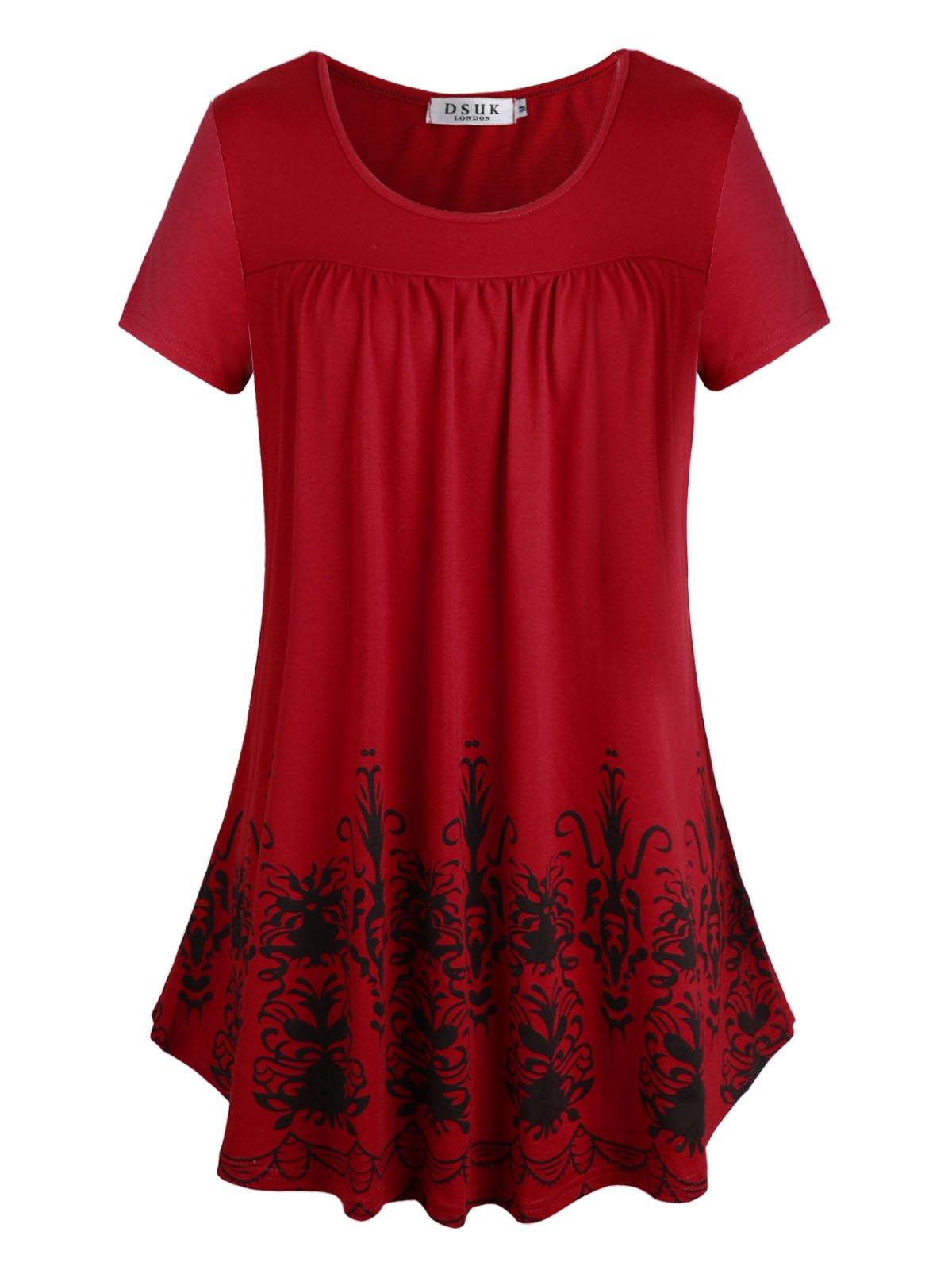 DSUK Ladies Tunics to Wear with Leggings, Women's Flower Printing Draped Hemline Relaxing Dressy New Hot Modern Graceful Vibrant Ruffle Details Versatile Styles Tunic Blouses Wine Red X-Large by DSUK