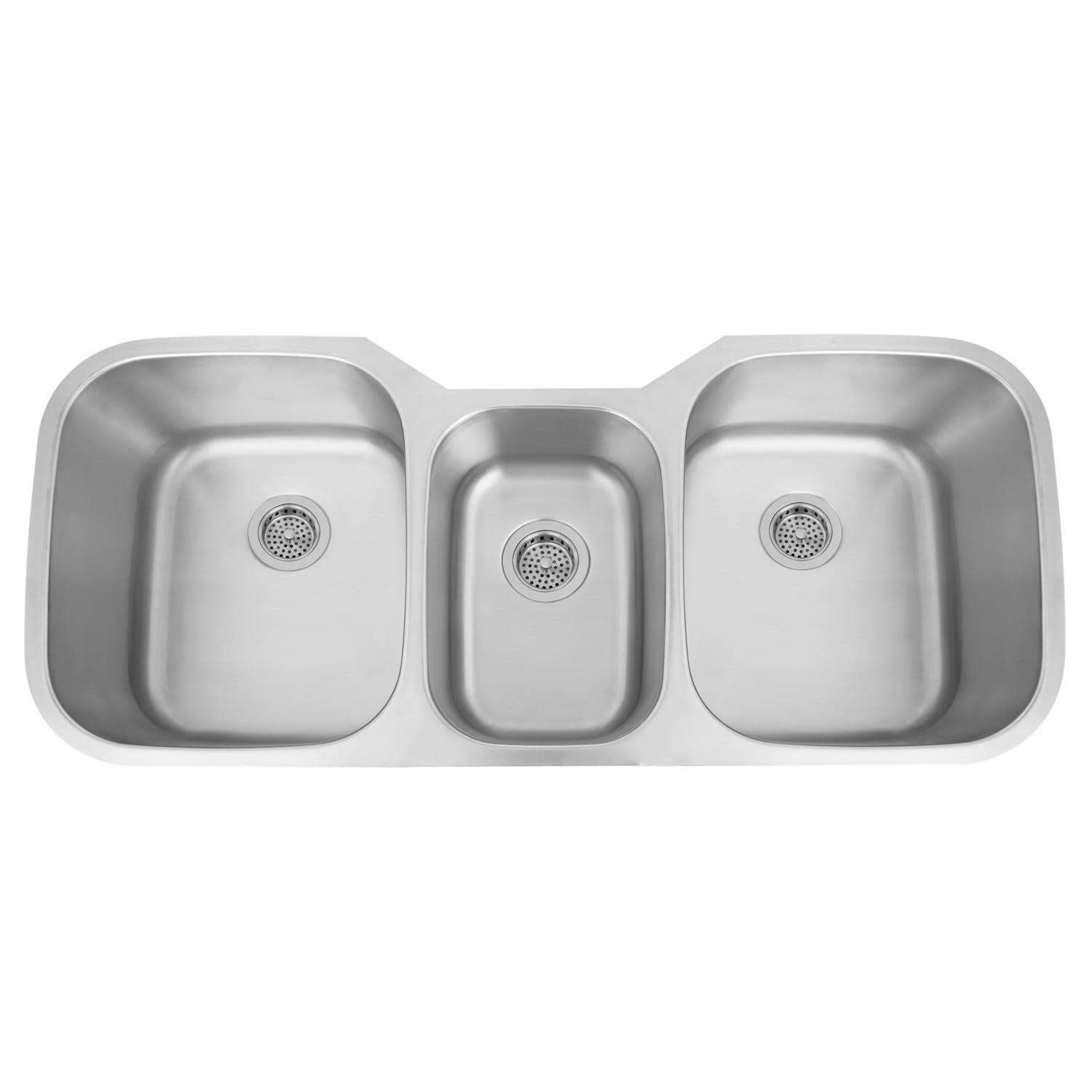 Signature Hardware 261943 Infinite 46'' Offset Triple-Bowl Stainless Steel Undermount Sink by Signature Hardware
