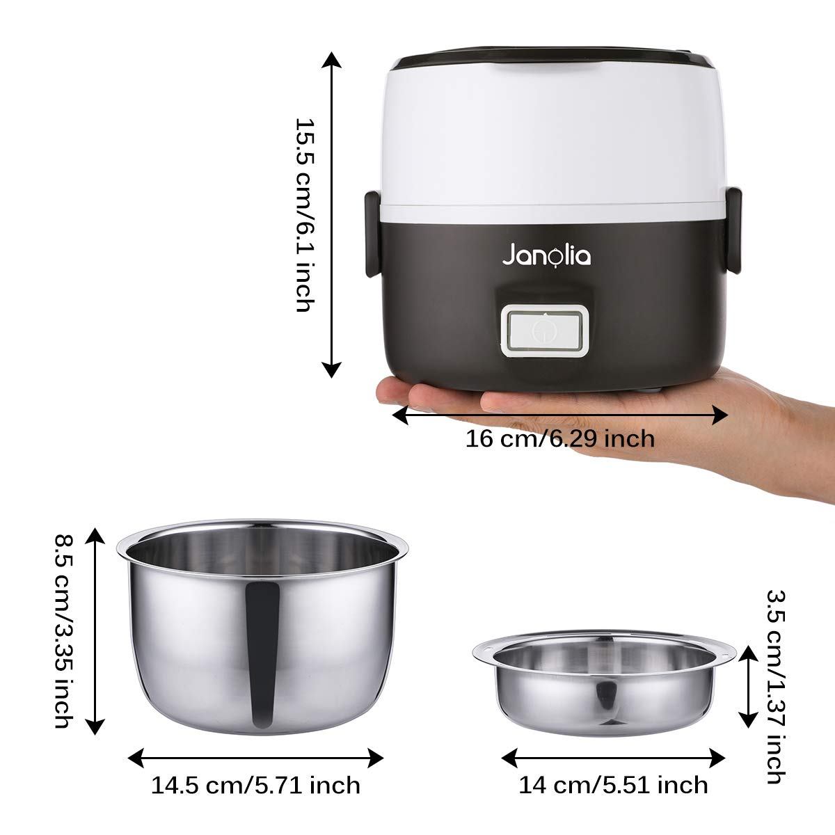 Janolia Electric Food Steamer, Portable Lunch Box Steamer with Stainless Steel Bowls, Measuring Cup by Janolia (Image #3)