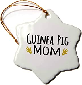 3dRose orn_154048_1 Guinea Pig Mom-for Pet Owners-Cavy Rodent Family Pets-with Brown Paw Prints-Snowflake Ornament, 3-Inch, Porcelain