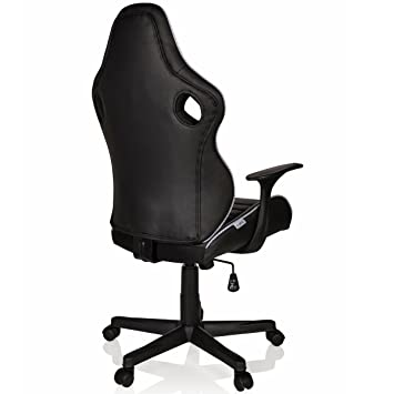hjh OFFICE 621940 Silla Gaming GT Racer II Piel sintética Negro/Blanco Silla de Oficina Moderna: Amazon.es: Hogar