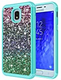 Galaxy J7 2018 Case, Galaxy Halo 32GB/Galaxy J7 Refine/J7 Aura/J7 Top/J7 Crown/J7 Aero/J7 Eon /J737 Case, Jeylly Gradient Bling Glitter Luxury Crystal Dual Layer Protector Case Cover - Turquoise