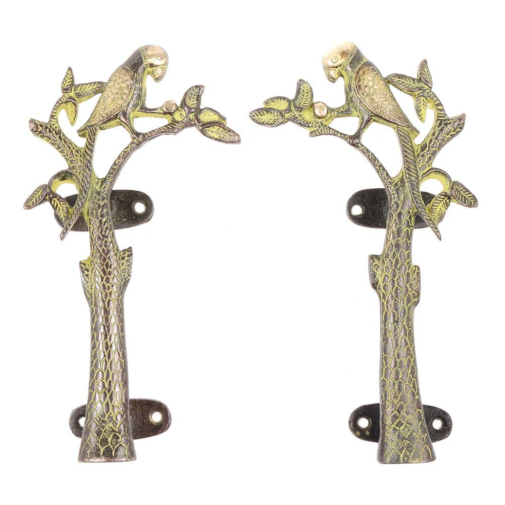 IndianShelf Set of 4 Handmade Handcrafted Artistic Brass Bronze Golden Decorative Green Parrot Wardrobe Handles Door Cabinet Drawer Cupboard Indian Vintage Pulls by Indian Shelf