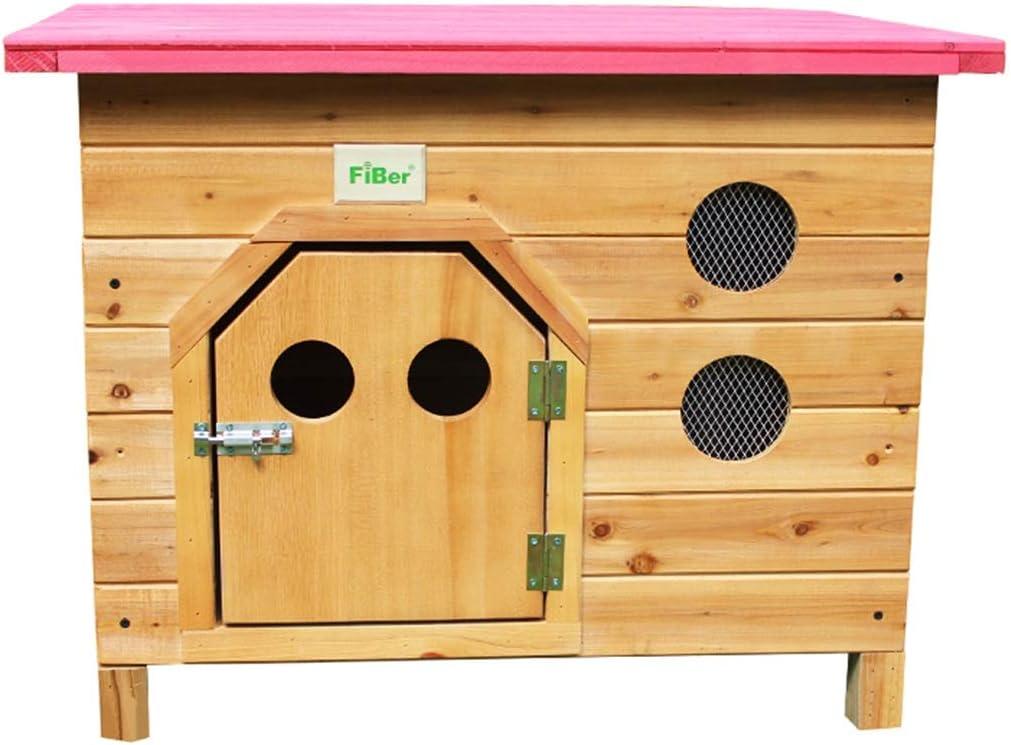犬小屋 犬小屋屋外木製犬小屋屋内猫モルモット子犬ハウスペットヴィラの靴スツールバルコニー収納ラックギフト (Color : Pink, Size : XL)