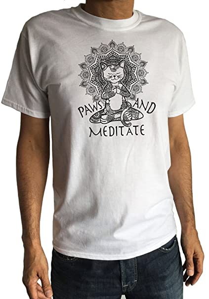 Camiseta para Hombre Yoga Cat Paws and Meditate - Meditación del Loto Cat Pose Print TS1382: Amazon.es: Ropa y accesorios