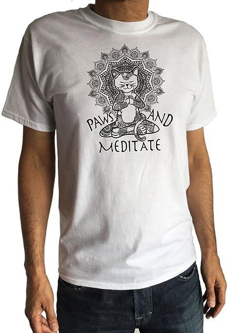 Camiseta para Hombre Yoga Cat Paws and Meditate - Meditación ...
