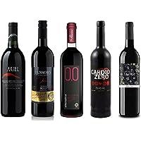 Red Wine Sampler - 5 Non-Alcoholic Wines 750ml Each - Ariel Cabernet Sauvignon, Cardio Zero Red, Rosso Dry, and Tautila…