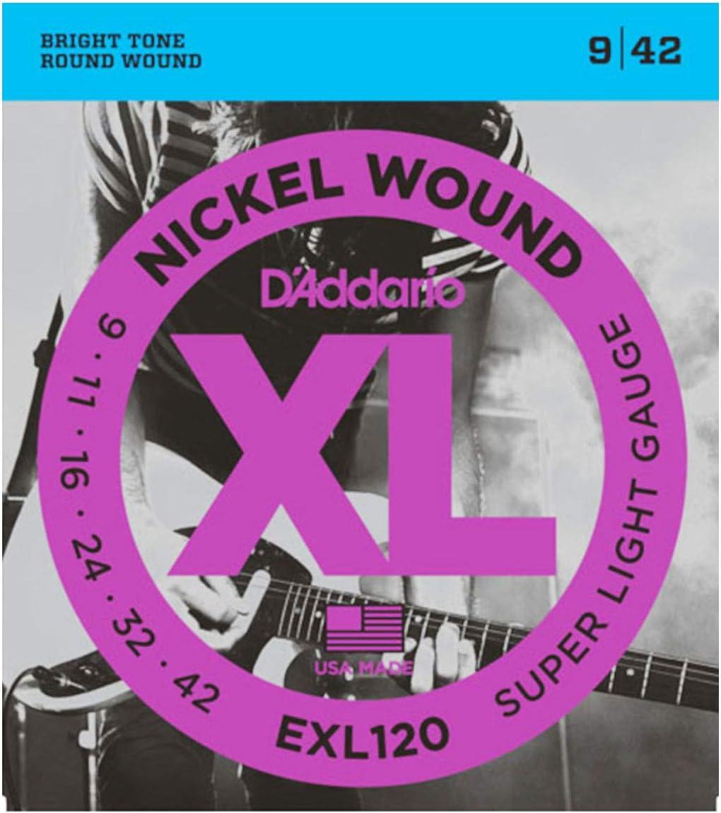 D'Addario EXL120 Super Light 9-42 - Cuerdas para guitarra eléctrica (10 unidades)