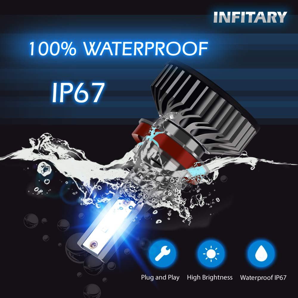 INFITARY 9004 LED Headlight Bulbs Conversion Kit All-in-One 10000LM 6500K ZES High Low Hi//Lo Beam Super Bright Cool White Fog Light Plug Play Car Motorcycle Replacement LED Auto Headlamp 3Yrs Warranty