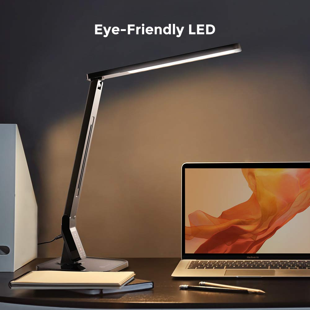 TaoTronics LED Desk Lamp with USB Charging Port, 4 Lighting Modes with 5 Brightness Levels, 1h Timer, Touch Control, Memory Function, Black, 14W, Official Member of Philips EnabLED Licensing Program by TaoTronics (Image #4)