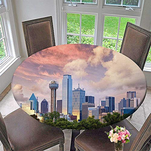 Mikihome Modern Table Cloth Dallas City Skyline at Clouds Texas Highrise Skyscrapers Landmark Indoor or Outdoor Parties 55
