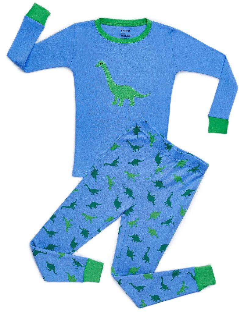 Leveret Dinosaur Blue 2 Piece Pajama Set 100% Cotton 3 Years
