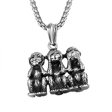Mcsays Hip Hop Bijoux Argent trois Pendentif en forme de singes Chaîne de  60 cm en 89f838014806