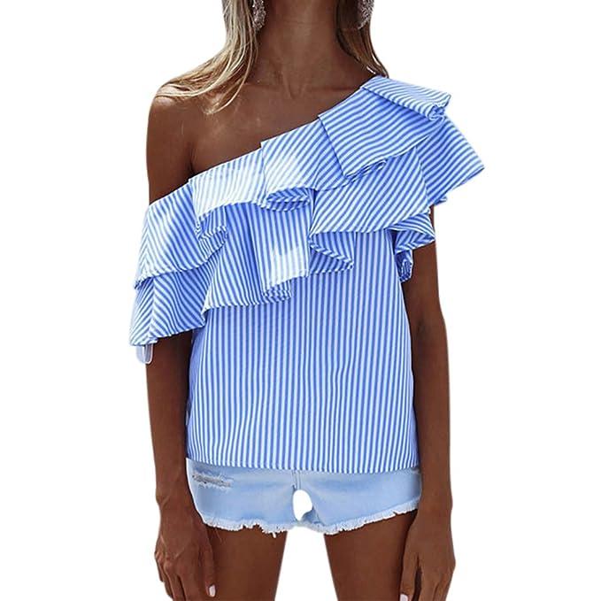 MIOIM Blusa de Rayas de Mujer Camiseta de un Hombro con Volantes de Hombro