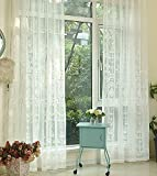 ASide BSide European Countryside Style Elegant Pattern Embroidered Sheer Curtains Drapes Rod Pocket Home Decorations For Living Room Dining Room and Kids Room (1 Panel, W 52 x L 63 inch, White)