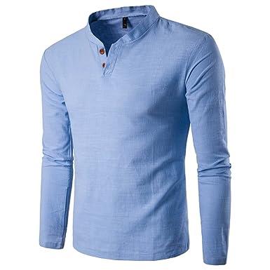 04b84c58199 Kuiduo Fashion Men s Clothing Light Blue Collar Men s Flax Long-Sleeved  Shirt Mens Tops (