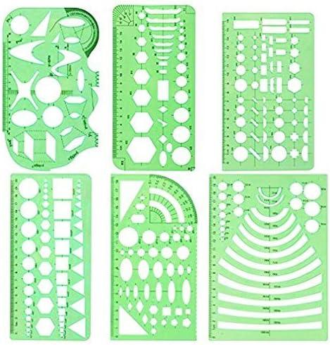 6pcs zeichnungen vorlagen geometrische vorlagen mess lineal set für kunst