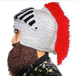 906c5f22c2e BIBITIME Cosplay Roman Knight Knitted Helmet with Beard Tassel Hat Visor  Beanie Mask Winter Ski Sports