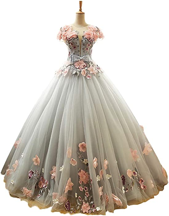 2c2de39d3cb EileenDor Women s Round Neck Cap Sleeve 3D Flowers 5 Dresses for  Quinceaneras Ball Gown Dress Long Prom Gray Tulle at Amazon Women s Clothing  store
