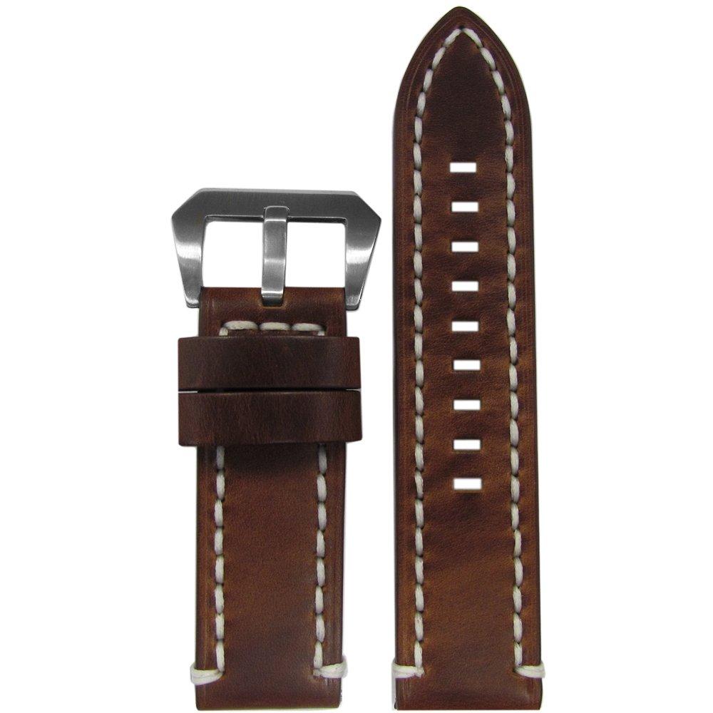純正Distressed Vintage Tobacco Leather Watch Band By Panatime 26mm Tobacco/White 26mm|Tobacco/White Tobacco/White 26mm B074G4MJTX