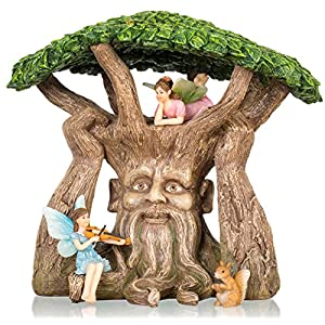 Joykick-Fairy-Garden-Ancient-Tree-Kit-Miniature-Hand-Painted-Figurine-Statues-with-Accessories-Set-of-4pcs-for-Your-House-or-Lawn-Decor