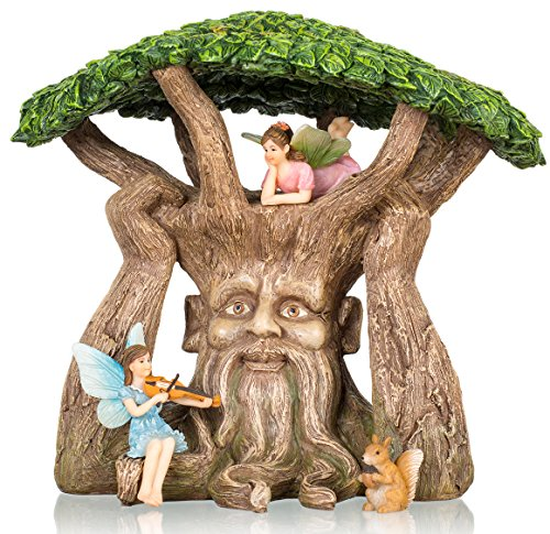 Set Fairy Garden (Joykick Fairy Garden Ancient Tree Kit - Miniature Hand Painted Figurine Statues with Accessories - Set of 4pcs for Your House or Lawn Decor)