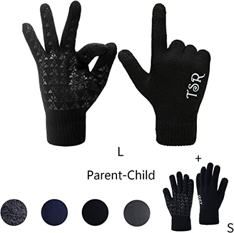 Black 3 Pairs Winter Warm Knit Touchscreen Gloves Thermal Fleece Lined Gloves with Elastic Cuff for Kids