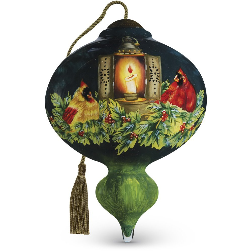 "Cardinals in Candlelight/"" Artist Betty Padden 7161167 Precious Moments Ne/'Qwa Art Marquis-Shaped Glass Ornament"