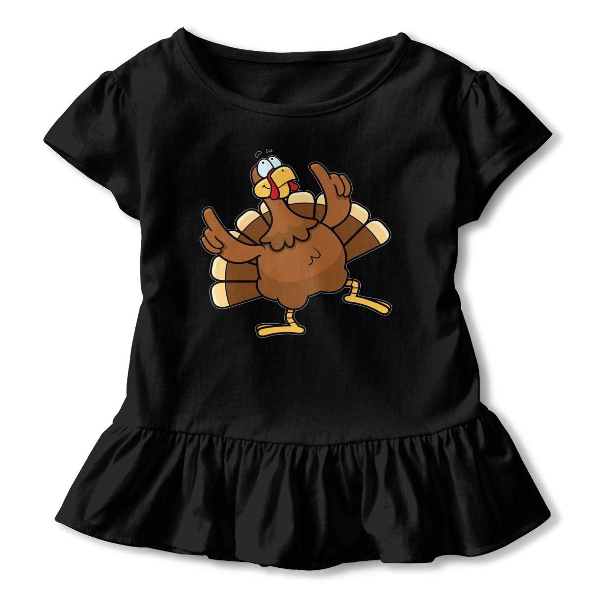 CZnuen Happy Thanksgiving Turkey Baby Girls Basic Short Puff Sleeve Round Neck Ruffle T-Shirt